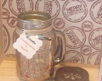 SALE item. Christmas candle in hand jar with the fragrance of frankincense 'n' Myrrh.
