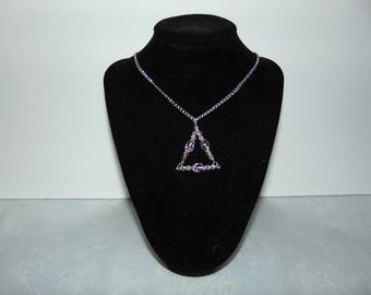 Crystal Pendant Necklace,Crystal Necklace,Crystal Pendant,Silver Necklace,Pink Crystal Pendant,Triangle Pendant,Swarovski Pendant,Swarovski