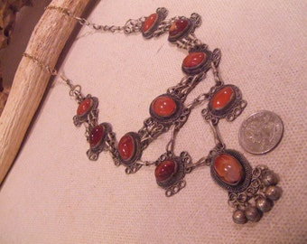 Tribal Silver  Carnelian  necklace  --  ethnic jewelry -- ( FREE SHIPPING SALE)