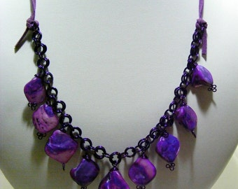 Purple Shell Chain Necklace