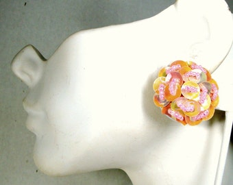 Baby Pink Clip Earrings, 1960s Round Beaded & Sequined Button Clips