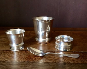 Baptism metal service silver 4pcs: Bacon, egg Cup, napkin ring and spoon