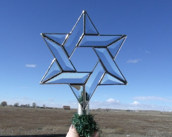 Beveled Glass Interfaith Jewish Star of David Tree Topper, Silver Version