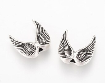 12pc 15mm antique silver finish metal fancy wing beads-10475