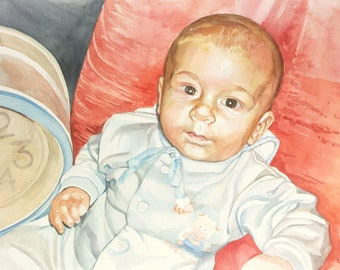 Watercolor Baby Portrait, Little Boy watercolor, Family gift, highly detailed painting, professional portrait artist, Birthday Family Gift