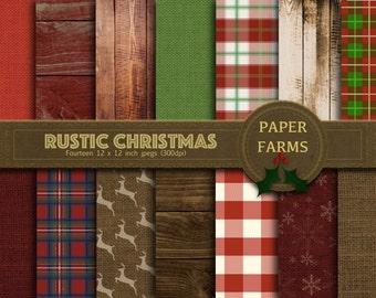 Rustic christmas digital paper, rustic christmas scrapbooking paper, Christmas burlap, country christmas, christmas wood, christmas gingham