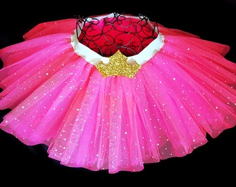Adult Disney Inspired Tutu Sleeping Beauty Tutu Disney Bound Disney Princess Skirt Pink Tutu Gold Aurora Crown
