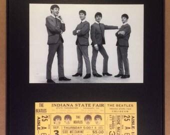 Beatles Framed Postcard With Reprint Concert Ticket