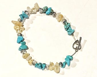 Turquoise and Citrine with clear crystal beaded bracelet