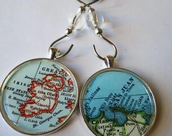 Personalized Ornament Set, 2 Small Glass Christmas Ornaments, Map Ornaments, Holiday Ornaments, Christmas Gift Idea, Ireland Ornament