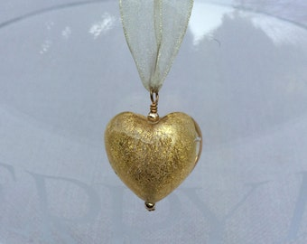 Diana Ingram necklace with crystal gold Murano glass large heart (25mm) pendant and complimentary organza ribbon on gold.