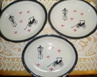 Three Oval Wellsville China Surrey Plates