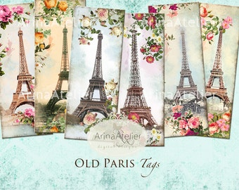 Old Paris Tags - Bookmarks - Hang Tags - Vintage Collage - gift Tags, scrapbooking, mixed media, altered art