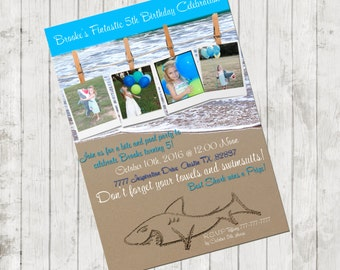 Shark birthday party invitation - Shark birthday invitation - Shark party invitation- Personalized Pool Party Invitation   UPRINT Shark DIY