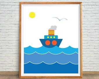 Blue Sailboat Art, Sailboat Kids Decor, Nautical Art Print, Nursery Boat Art, Boat Shower Gift, Boat Nursery Decor, Sailboat Digital Print