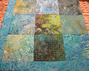 """14"""" x 14"""" PILLOW COVER - Soothing Song Birds and a Hawk in 9 Squares of Nature Fine Cotton Batiks"""