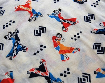Vintage Knit Fabric, Vintage Fabric by the Yard, Ballroom Dancer Fabric, Vintage Fabric