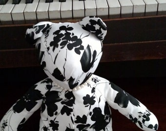 Satin Black/White with pearls, Homemade bear, Teddy Bear, Decorator Bear