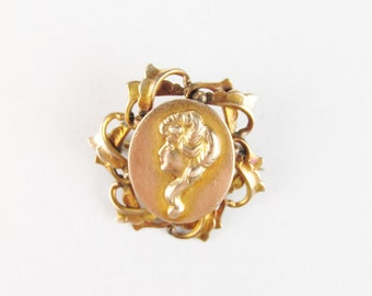 Antique Art Nouveau Figural Lady Brooch, 10k Gold