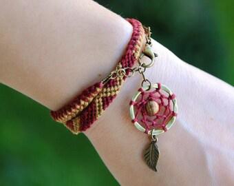 Jasper dream catcher wayuu bracelet, Gem stone dreamcatcher charm chevron bracelet, Native american indian, Gemstone ethnic tribe fiber wrap