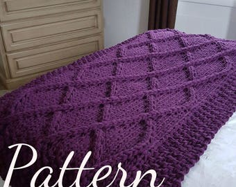 Lattice Cable Knit Blanket PATTERN