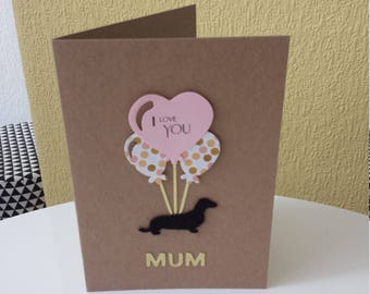 dachshund mothers day card // sausage dog mothers day card // mother's day card // weiner dog // dachshund card // dog mothers day card
