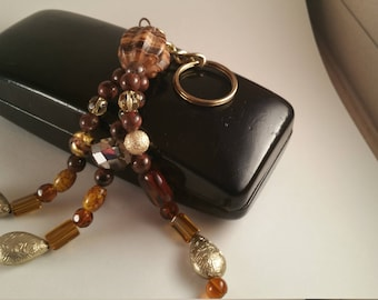 Brown and Gold Bead Key Chain/Gift/Handbag Charm