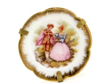 FRAGONARD Hand Painted Limoges France Porcelain Plate Brooch / Pin 18th Century French Court Couple