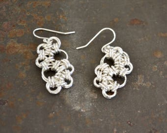 Organic Japanese 4 in 1 Chainmaille Dangle Earrings - Sterling Plated Earrings - By BALOOS STUDIO