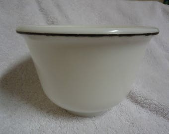 1940's Milk Glass Mixing Bowl with Black Band