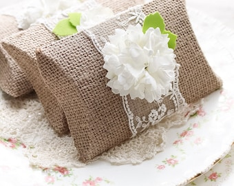 SALE ~ Set/4 Burlap Pillow Gift Boxes, Burlap Favor Pillow Boxes, Wedding Favor Box, Bridal Gift Box, Proposal Box