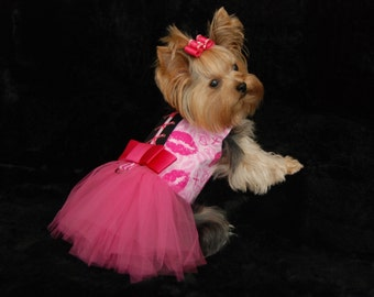 Dog Tutu Harness Dress - Dog Dress - Dog Wedding Dress - Small Dog Clothes - Puppy Tutu - Valentine's - Kisses