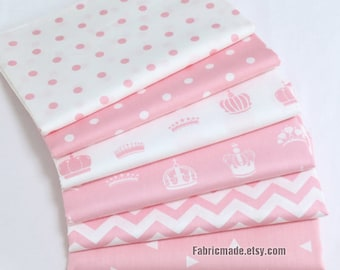 Pink Cotton Fabric Polka Dots Triangle Crown Chevron In Pink White Cotton Girl's Fabric- 1/2 Yard