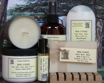 WOOD STOCKED Soap Gift Set Cedar Wood, Amber Musk & Vanilla - Handmade Spa Set
