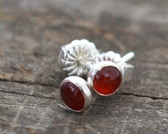 carnelian and sterling silver tiny stud earrings