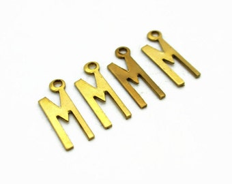 Letter M, Initial charm, Letter M pendant, Gold Initial Charm, 4pcs