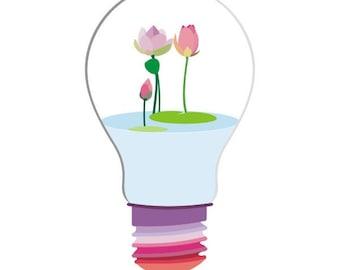 light bulb terrarium Print - Bulb Terrarium - Lotus print,colorful art,lotus Flower Art Print,Wall Decor Flower art,Floral Giclee Print