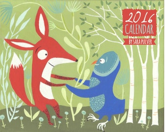 "REDUCED 2016 Wall Calendar by Sara Pulver - Cats, Dogs, Owls, Fox, Pugs - 11""x17"" Spiral Bound Whimsical Animal Outsider Folk Art Organizer"