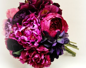 Peony & Hydrangea Bouquet - Bridal Bouquet, Dark Pink, Fuchsia, Pink, Purple, Peony Bouquet, Ruffle, Shabby Chic, Vintage Bouquet