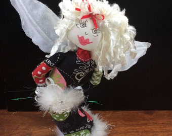 textile doll,OOAK,stump doll,handmade doll,Angel doll,xmas angel free standing