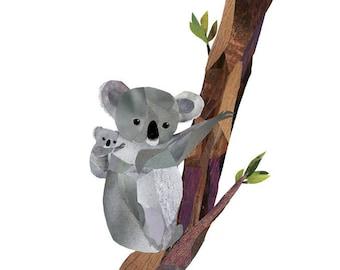 Koala und Baby Print Original Collage