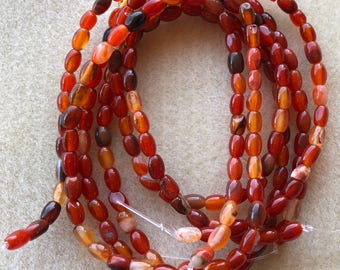 Red Multi Agate Rice Oval 5x4mm-7x5mm Oval Beads