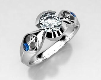 Rebel Alliance Star Wars Engagement Ring in Silver, Palladium & Gold, Moissanite Engagement Ring, Lightsaber Star Wars Wedding Ring