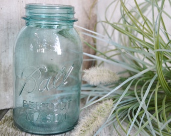 Aqua Ball Jar Early 1900s Vintage Ball Jar Vase