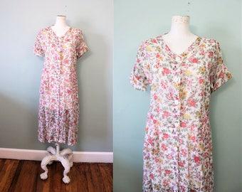 1930s Nosegay Cotton Voile Dress / Vintage 1930s Sheer Floral Day Dress / Medium