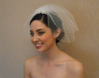Two tier tulle birdcage veil with rhinestone piece embellished with Swarovaki pearls on comb - Ready to ship in 3-5 Business Days