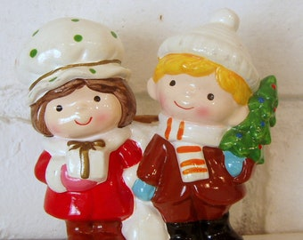 Cute Retro Couple Holding Hands in Winter, figurine candle or candy holder, clay hand painted, 1970's, Christmas gift