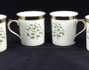 "Royal Limited Holly Holiday Four (4) 3 1/2"" Mugs Japan"