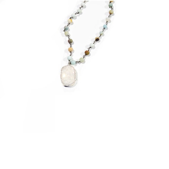 Long multicolored crystal pendant necklace