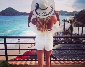 Embroidered Floppy Hat - Wide Brim Beach Sun Hat- Personalized Mrs. Hat